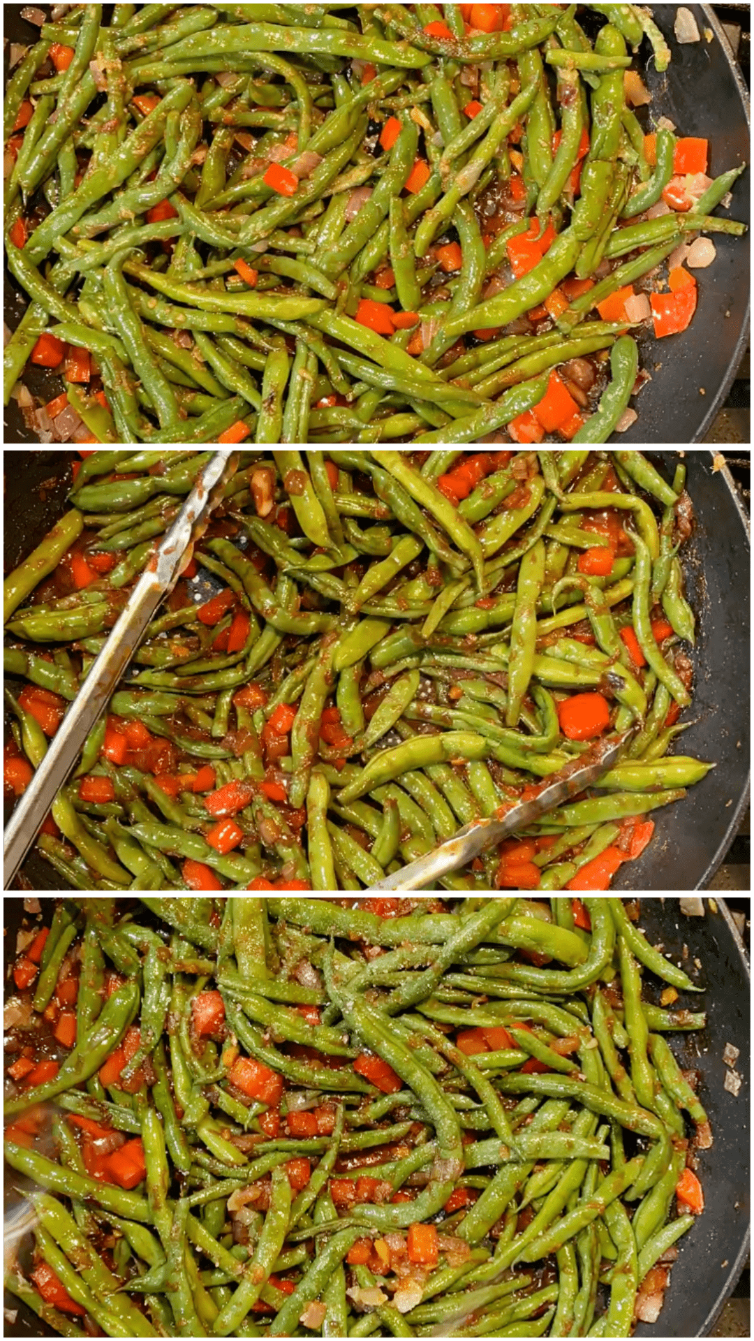 A collage of images showing how to finish green beans with tamari soy sauce.