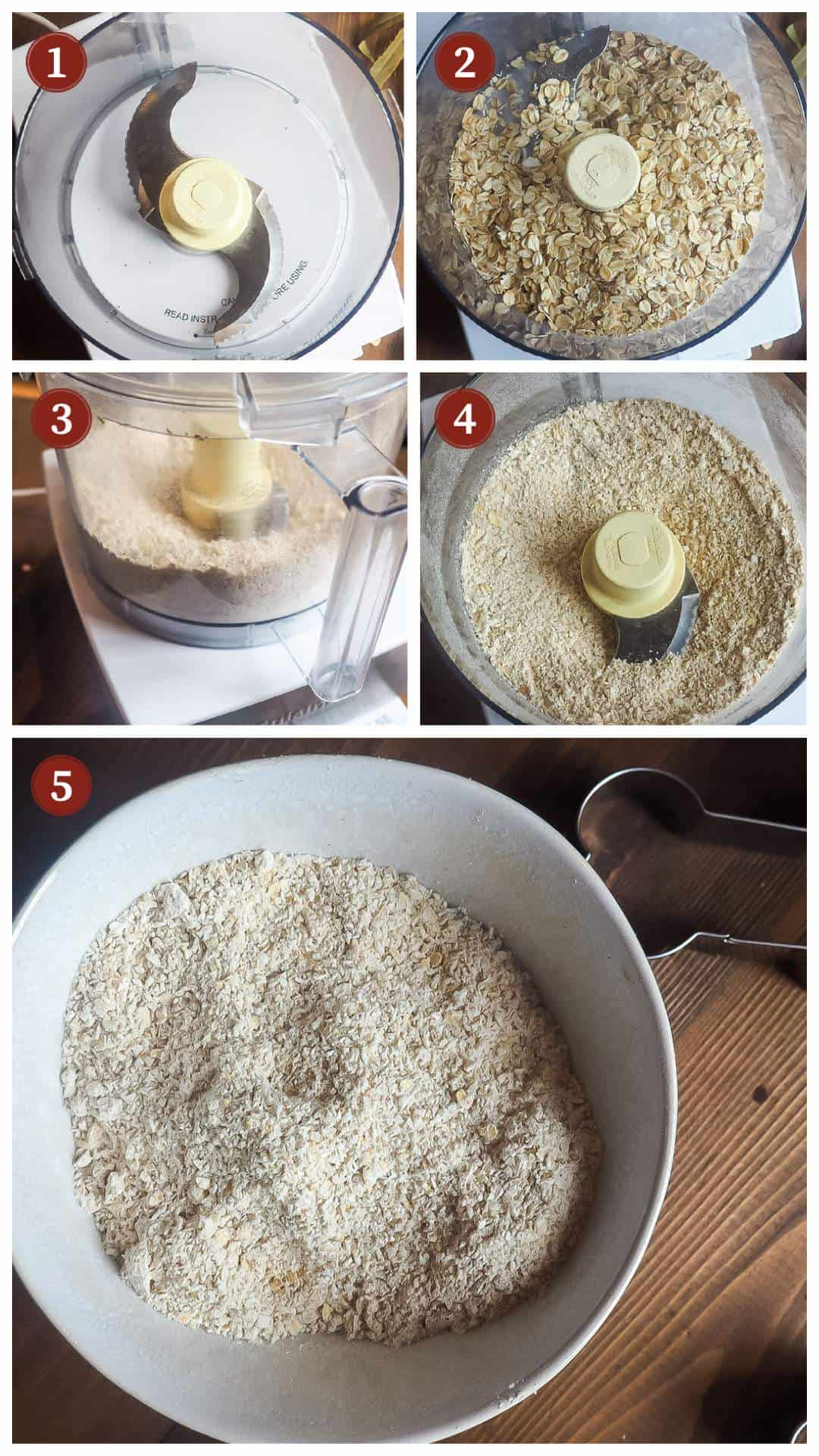 A collage of images showing how to make oat flour for sweet potato and cranberry dog treats, steps 1 - 5.