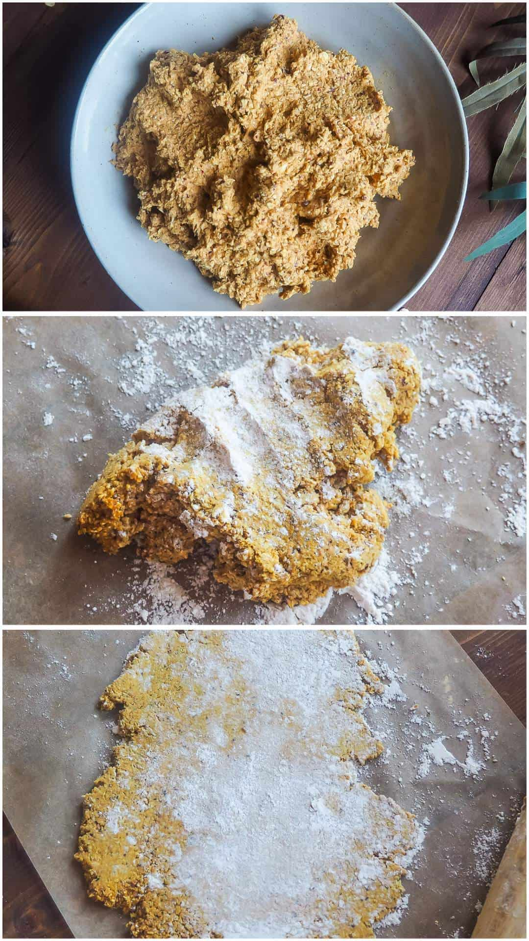 A collage of images showing how to roll out dough for sweet potato and cranberry dog treats.