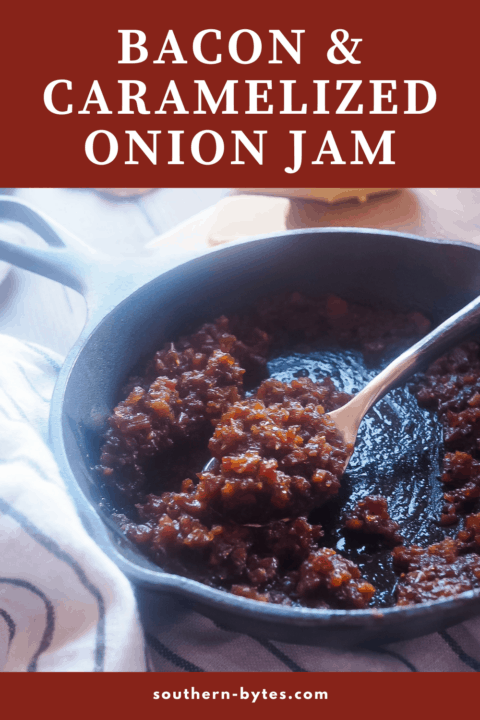 A pin image of a small skillet filled with bacon onion jam.