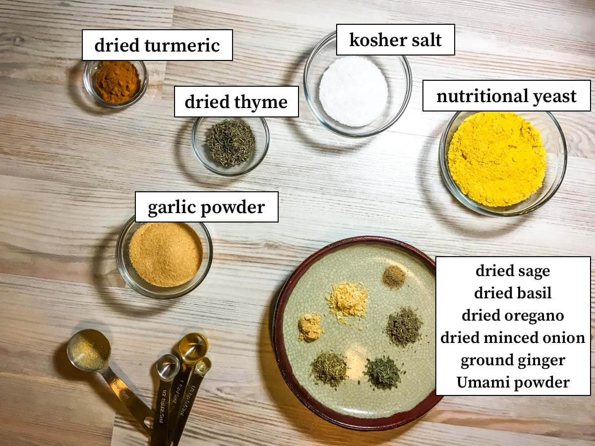 The ingredients in paleo chicken bouillon, labeled.