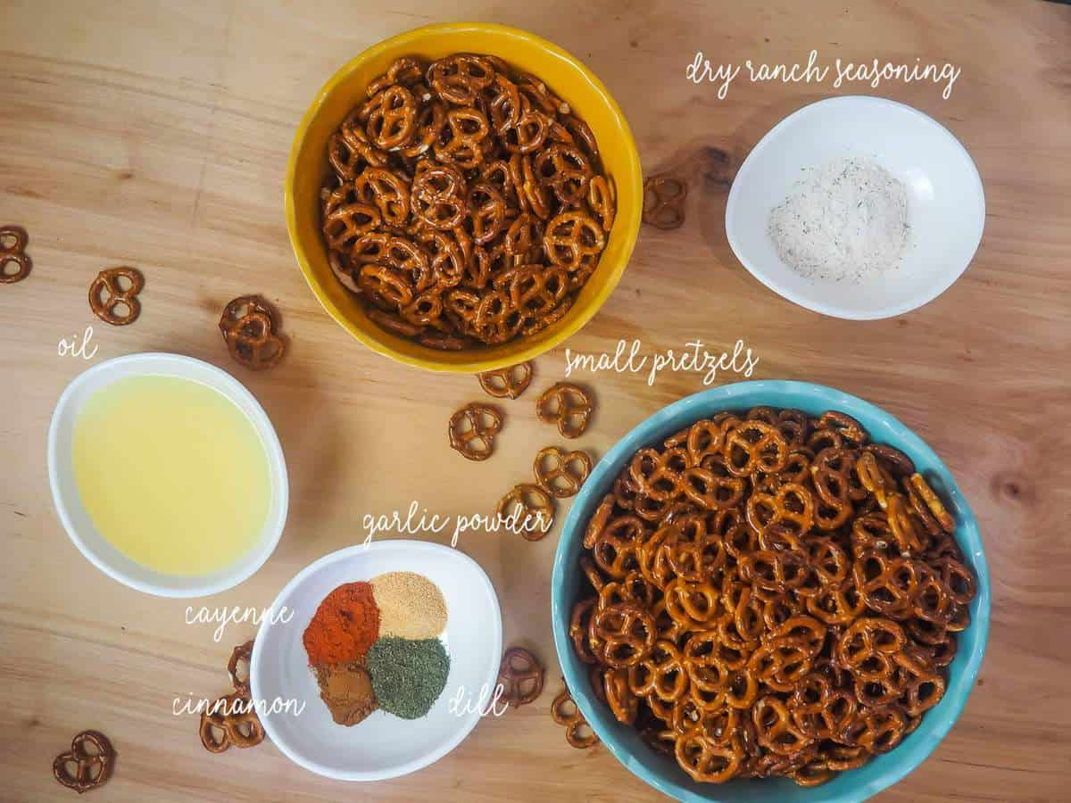 The ingredients in crack pretzels, labeled.