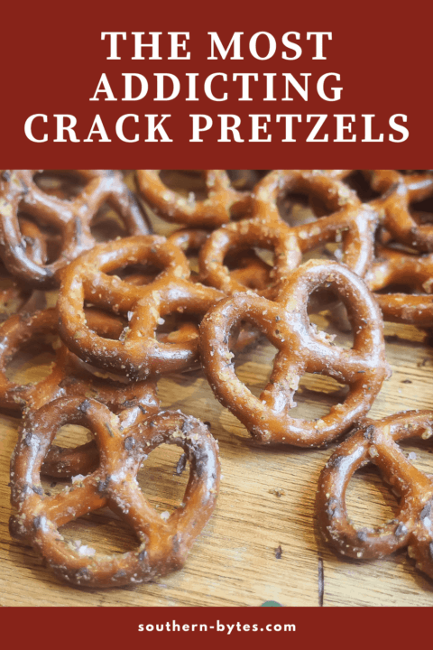 A pin image of crack pretzels spread out on a wooden board.