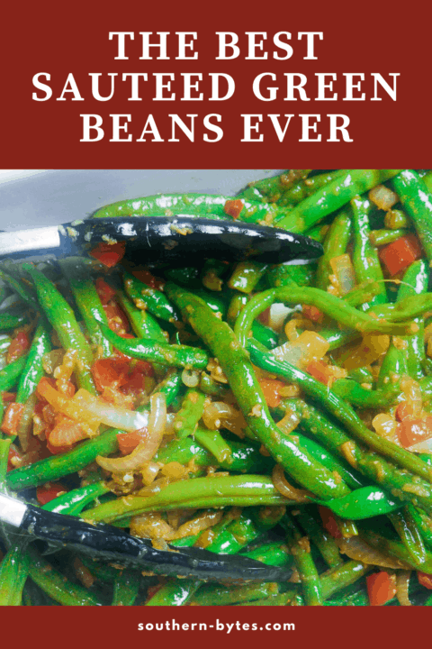 A pin image of a serving dish filled with ginger green beans zoomed in close.