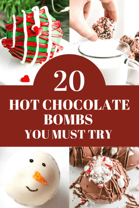 A pin image of a collage of hot chocolate bombs.