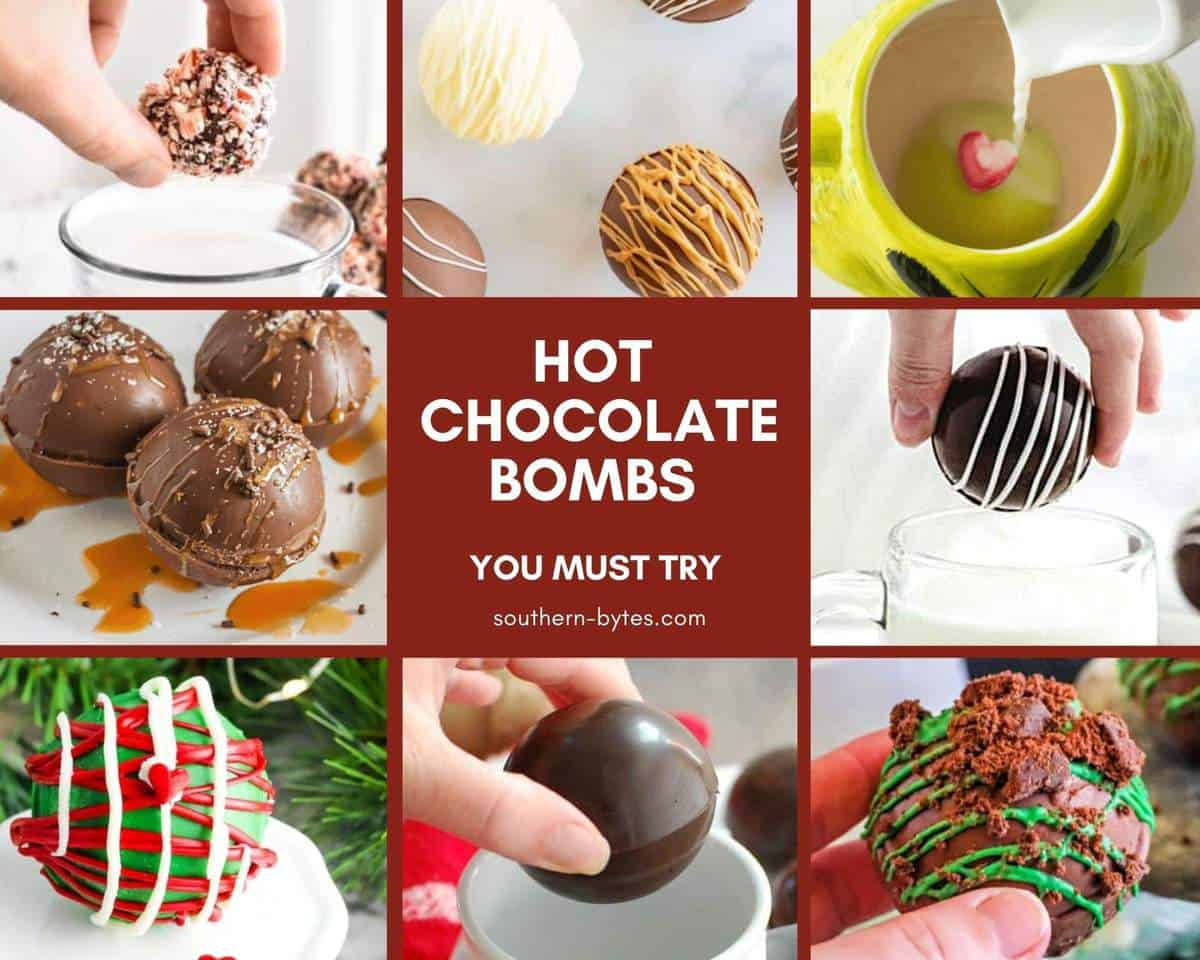 A collage of images of hot chocolate bombs.
