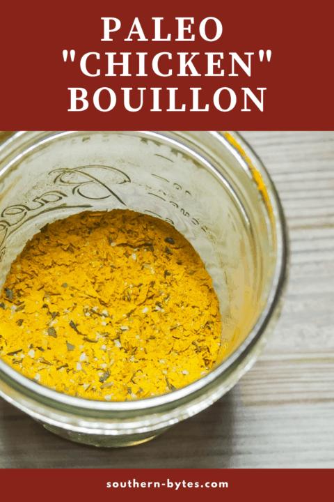 A pin image of a jar of vegan chicken bouillon.