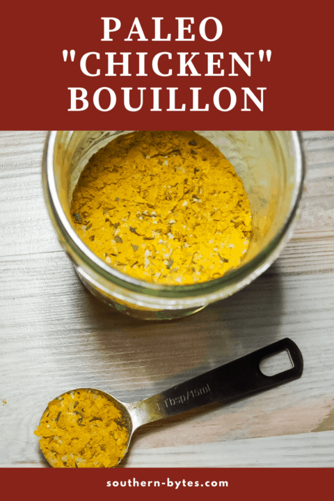 A pin image of a jar of paleo bouillon and a spoon.