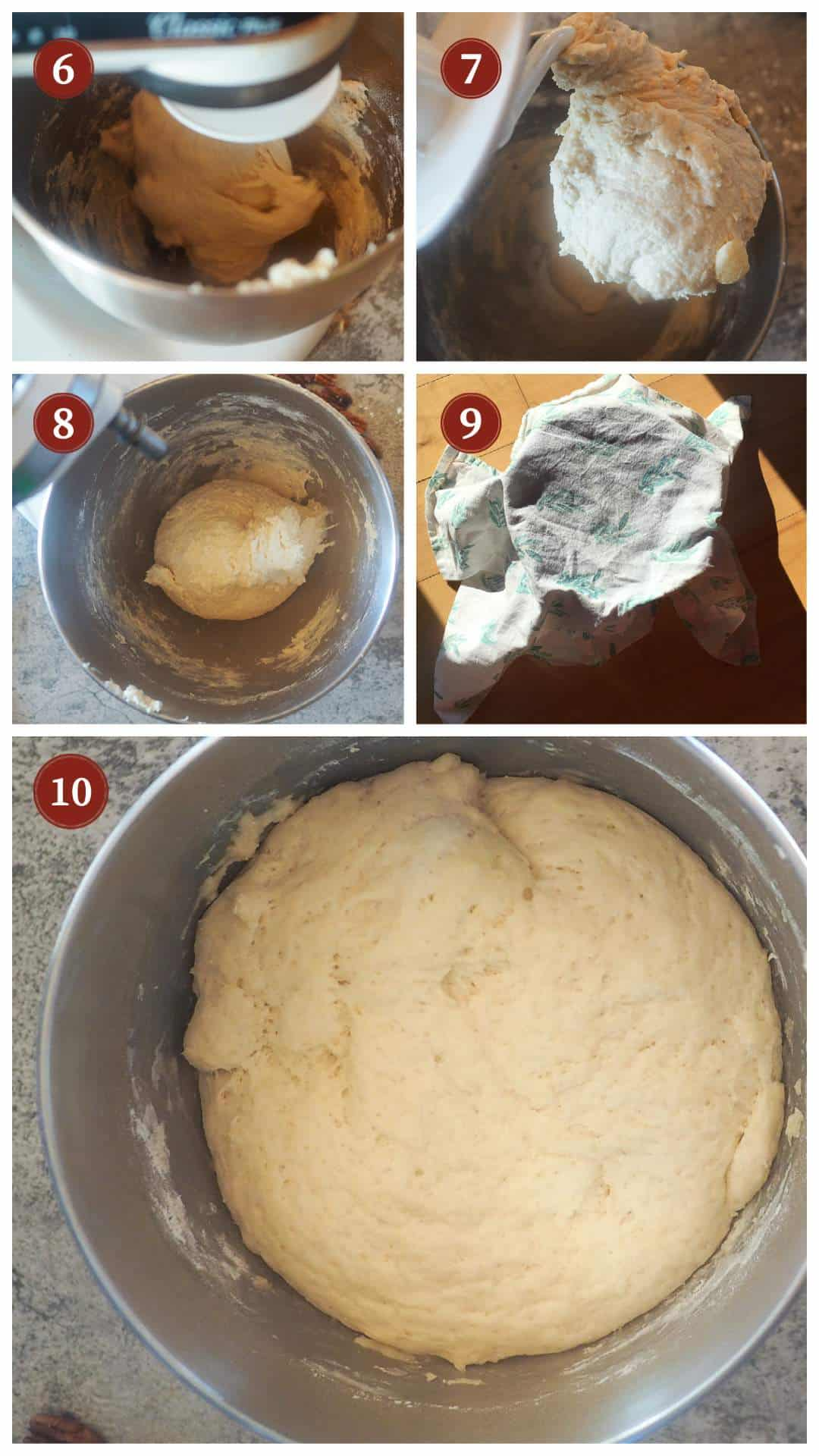 A collage of images showing how to make cinnamon roll dough, steps 6 - 10.
