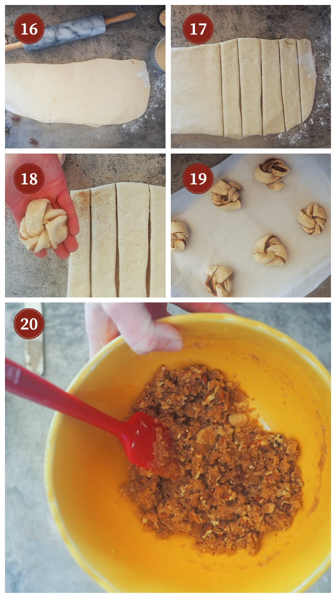 A collage of images showing how to make praline crunch cinnamon roll knots, steps 16 - 20.