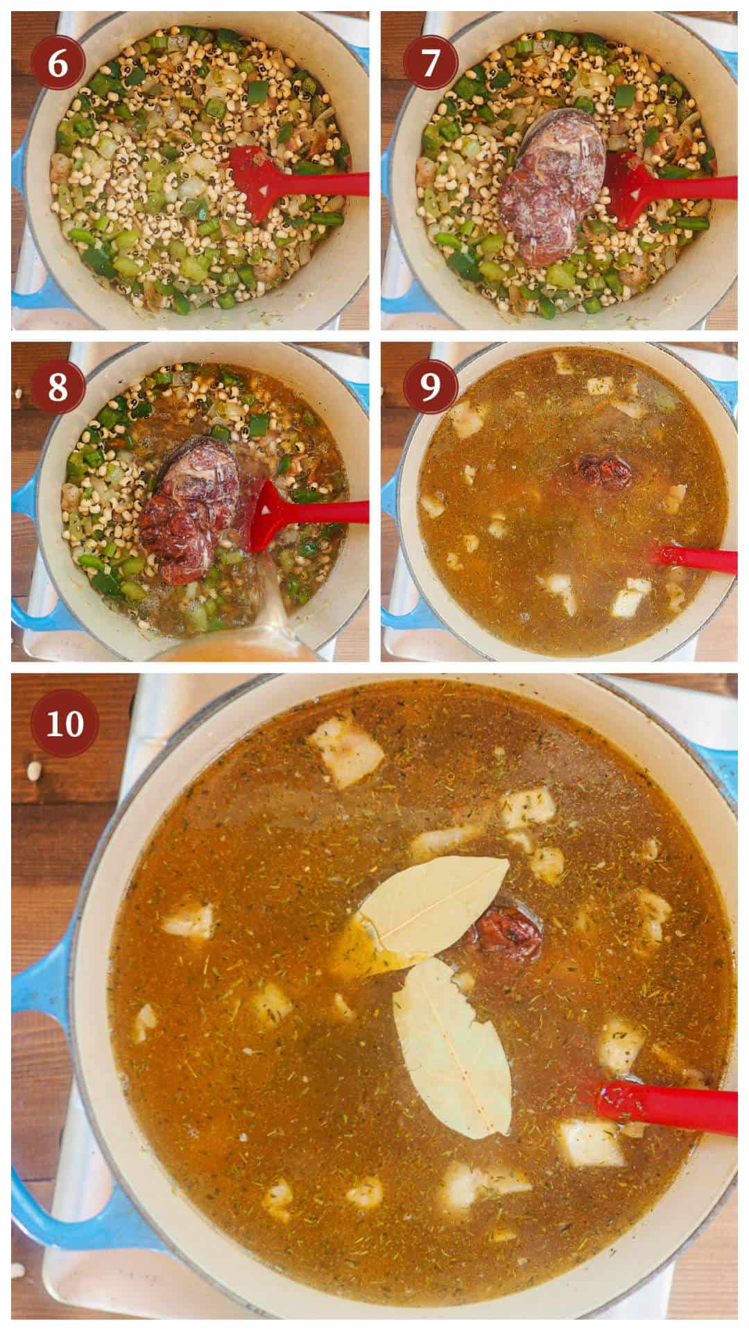 A collage of images showing how to make hoppin john, steps 6 - 10.