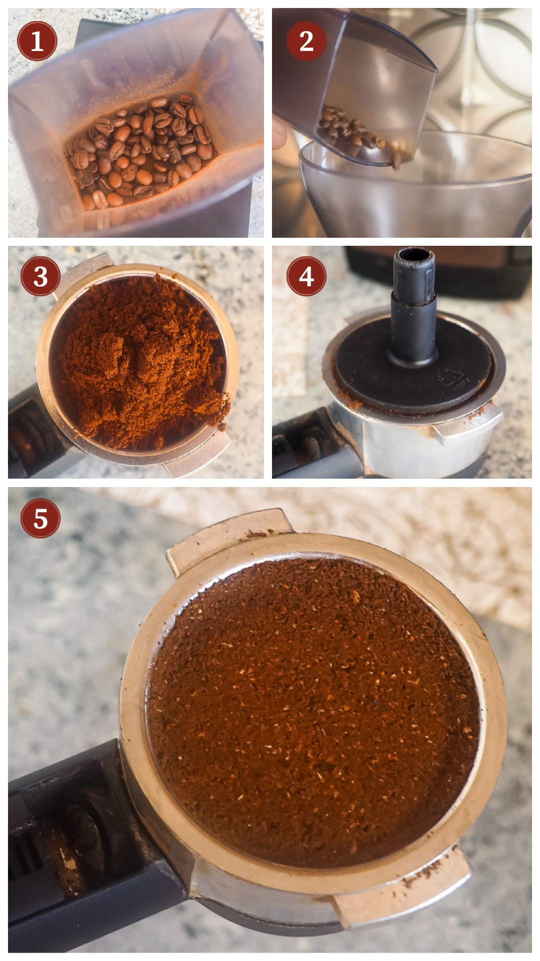 A collage of images showing how to make espresso, steps 1 - 5.