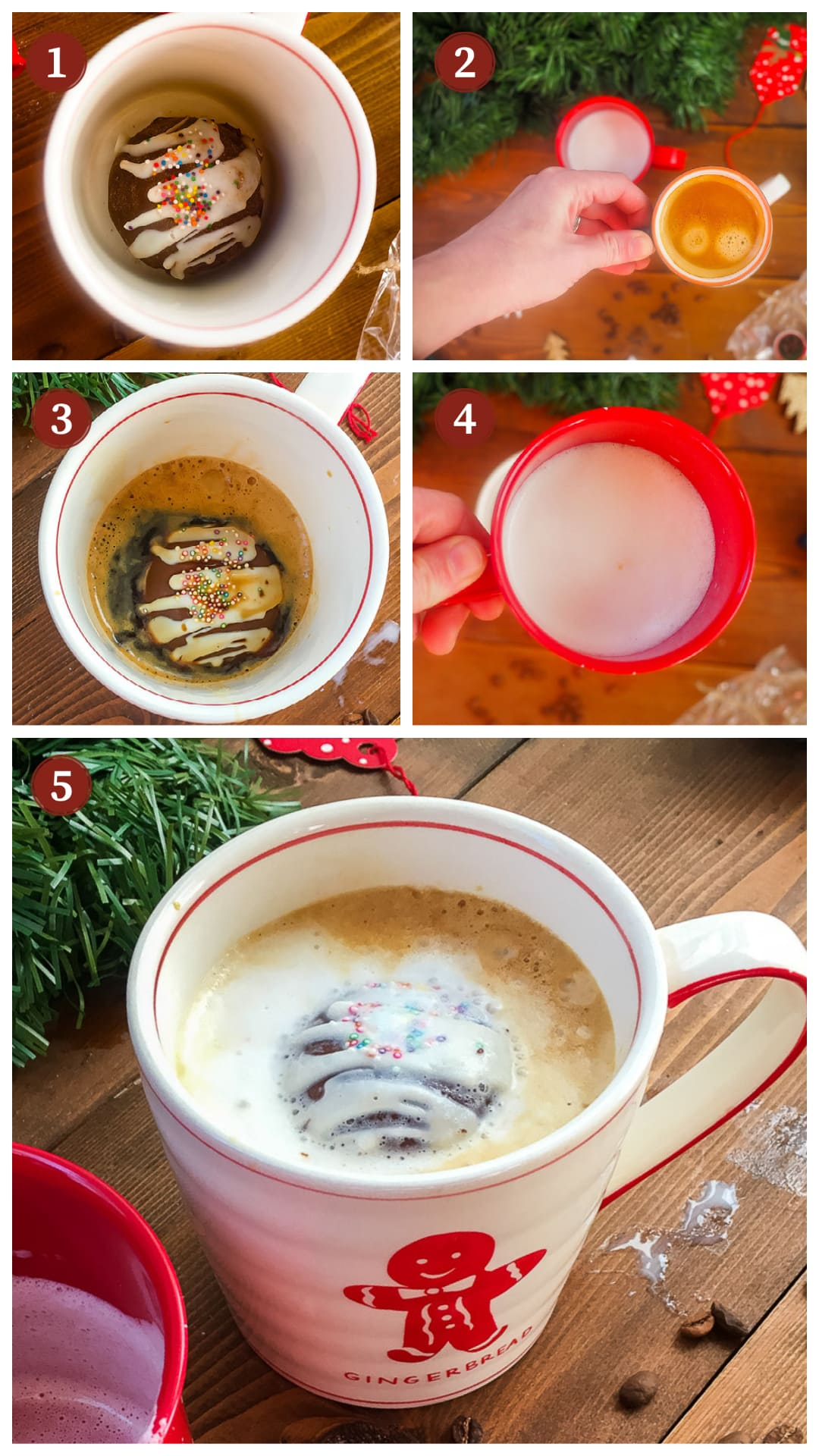 A collage of images showing how to make a hot chocolate mocha coffee with a hot cocoa bomb, steps 1 - 5.