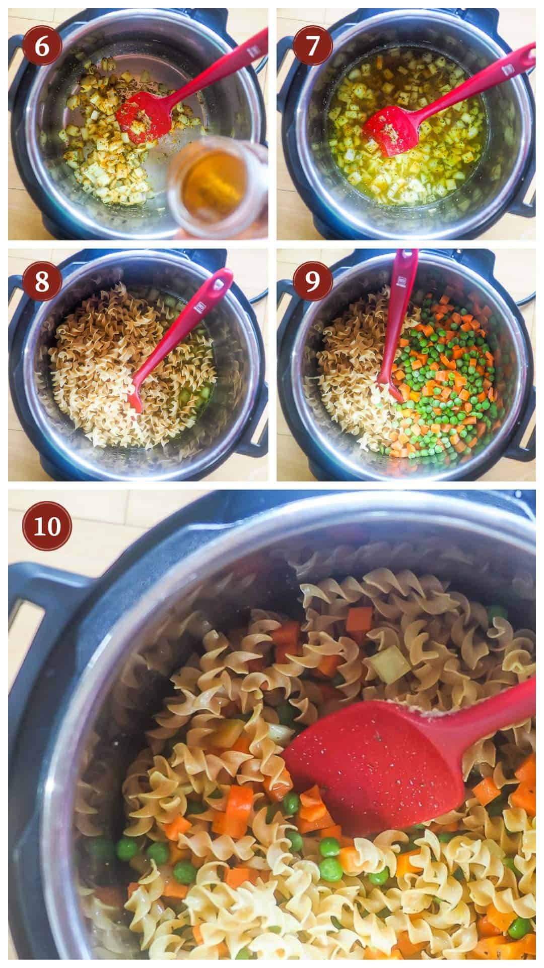 A collage of images showing the process of making instant pot chicken pot pie soup, steps 6 - 10.
