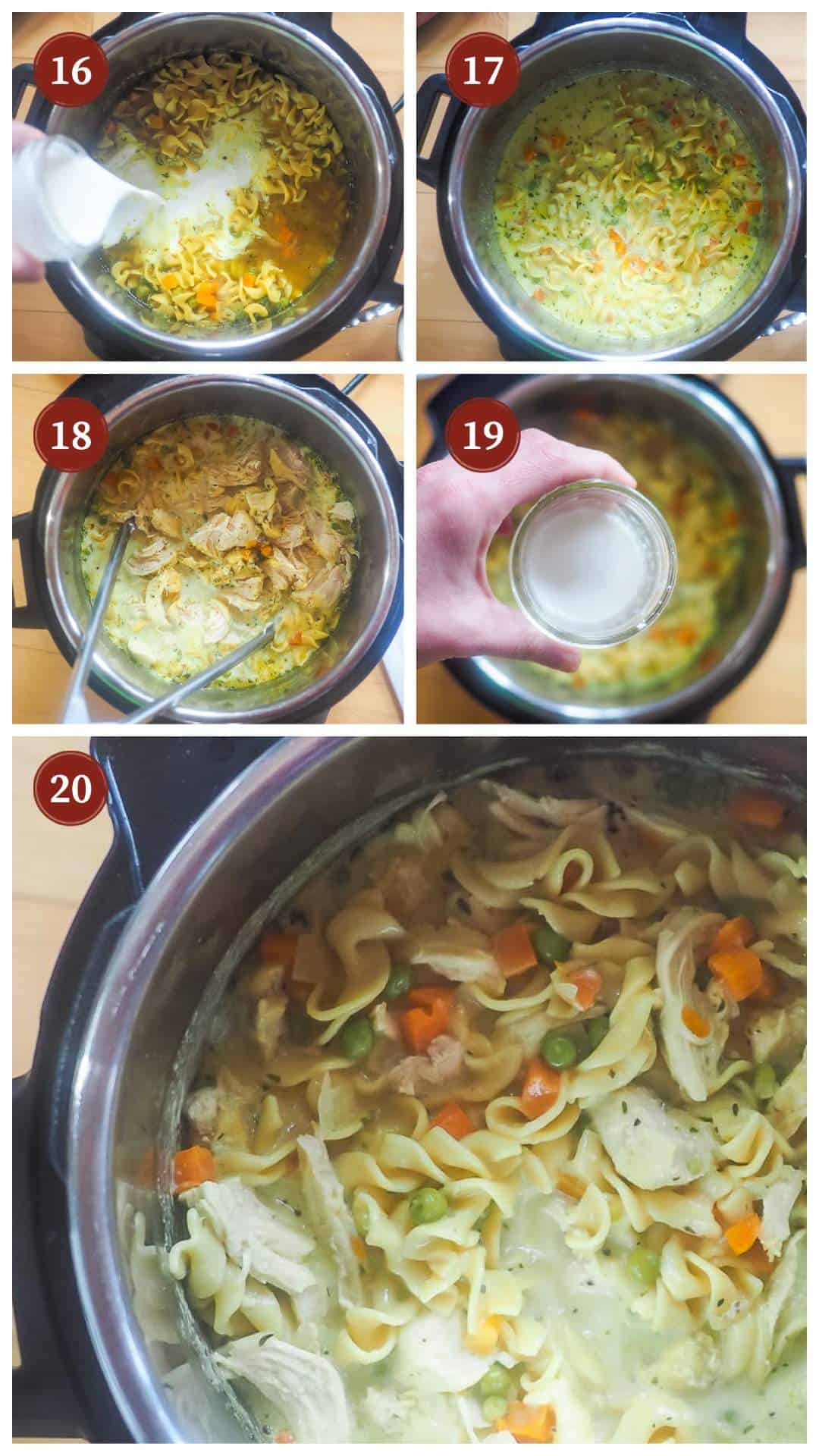 A collage of images showing the process of making instant pot chicken pot pie soup, steps 16 - 20.