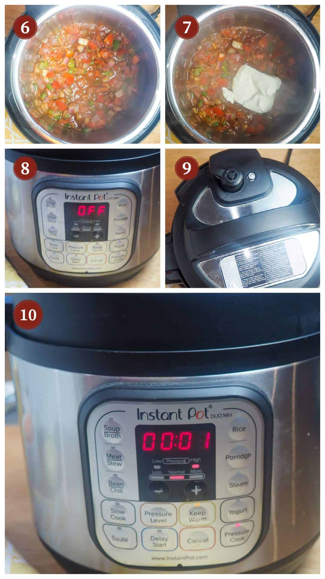 A collage of images showing the process of making queso in an Instant Pot, steps 6 - 10.