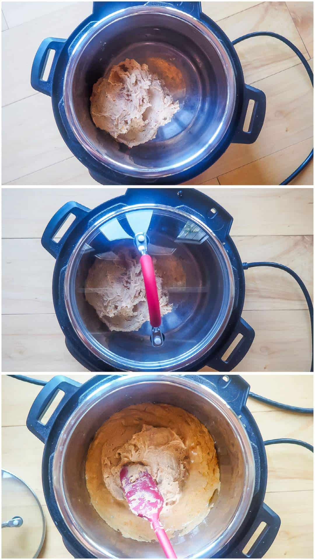 Three process images for melting queso in an Instant Pot.