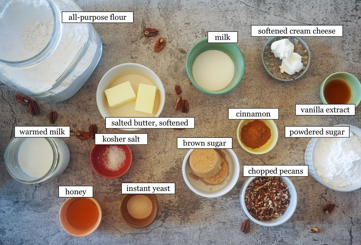 The ingredients in praline crunch cinnamon knots, laid out and labeled.