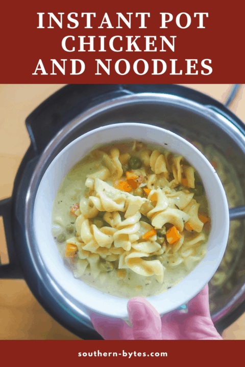 A pin image of a bowl of instant pot chicken pot pie soup.