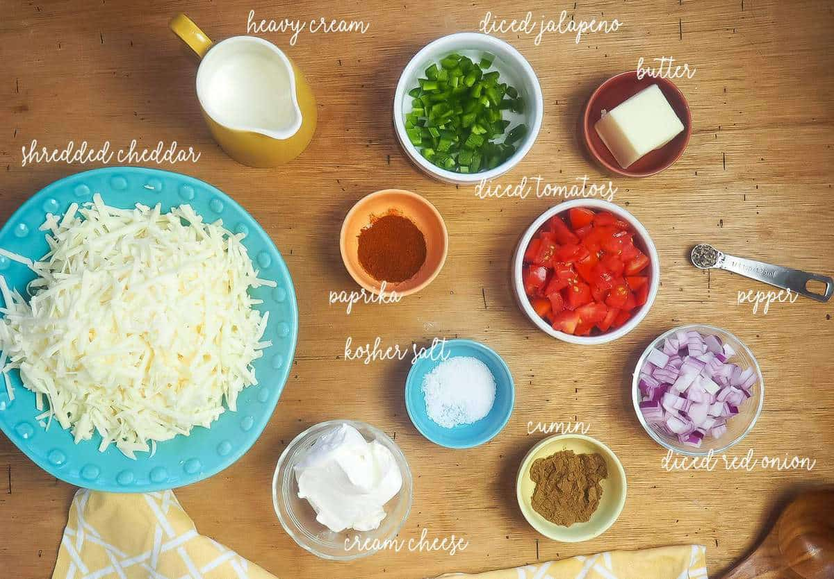 The ingredients in instant pot queso, laid out and labeled.