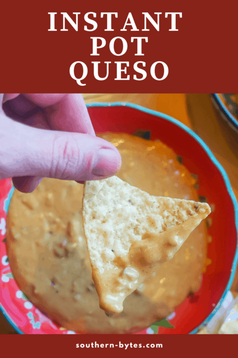 A pin image of a chip dipped in queso held over a red bowl.