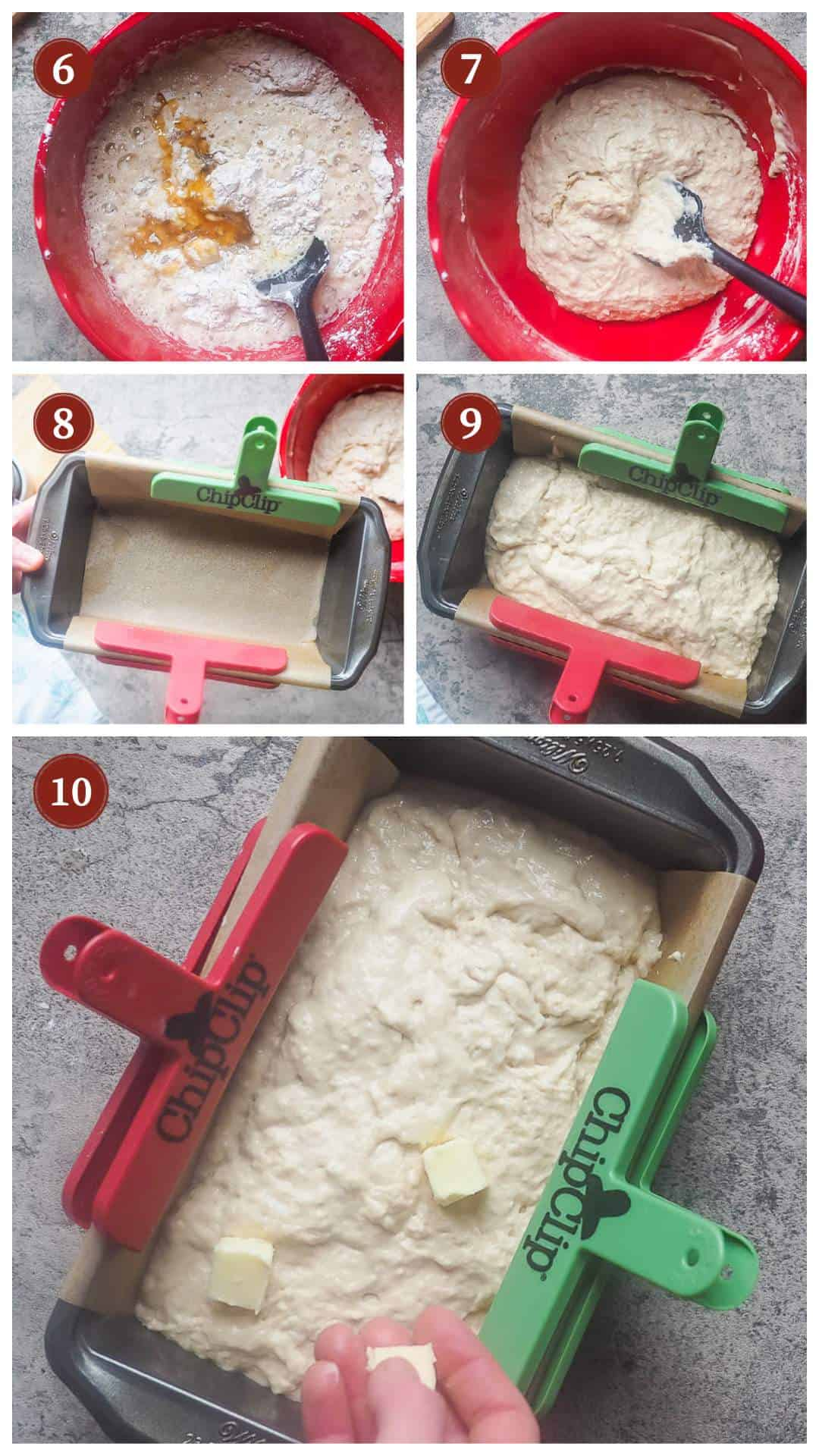 A collage of images showing the process of making beer bread, steps 6 - 10.