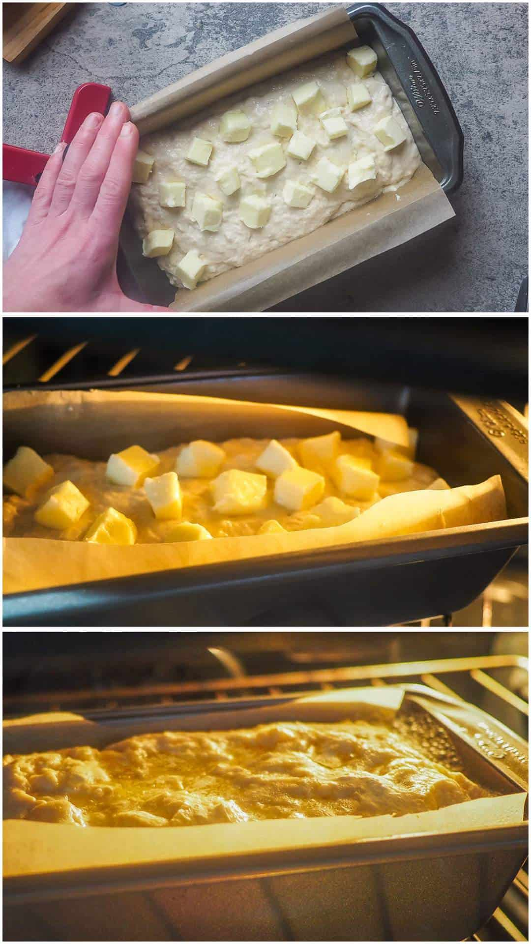 A collage of images showing the process of making beer bread, topped with butter cubes and baking.