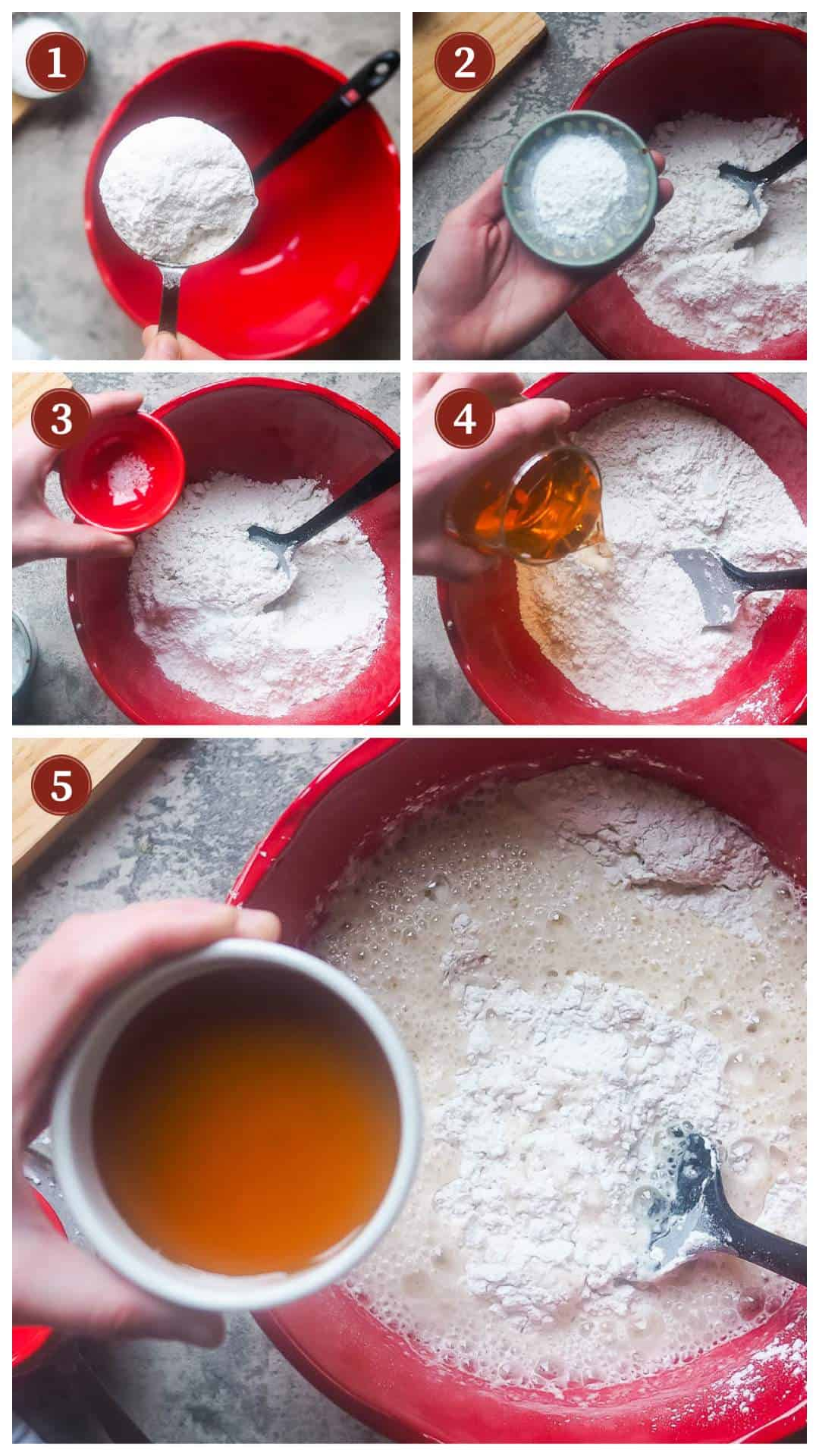 A collage of images showing the process of making beer bread, steps 1 - 5.
