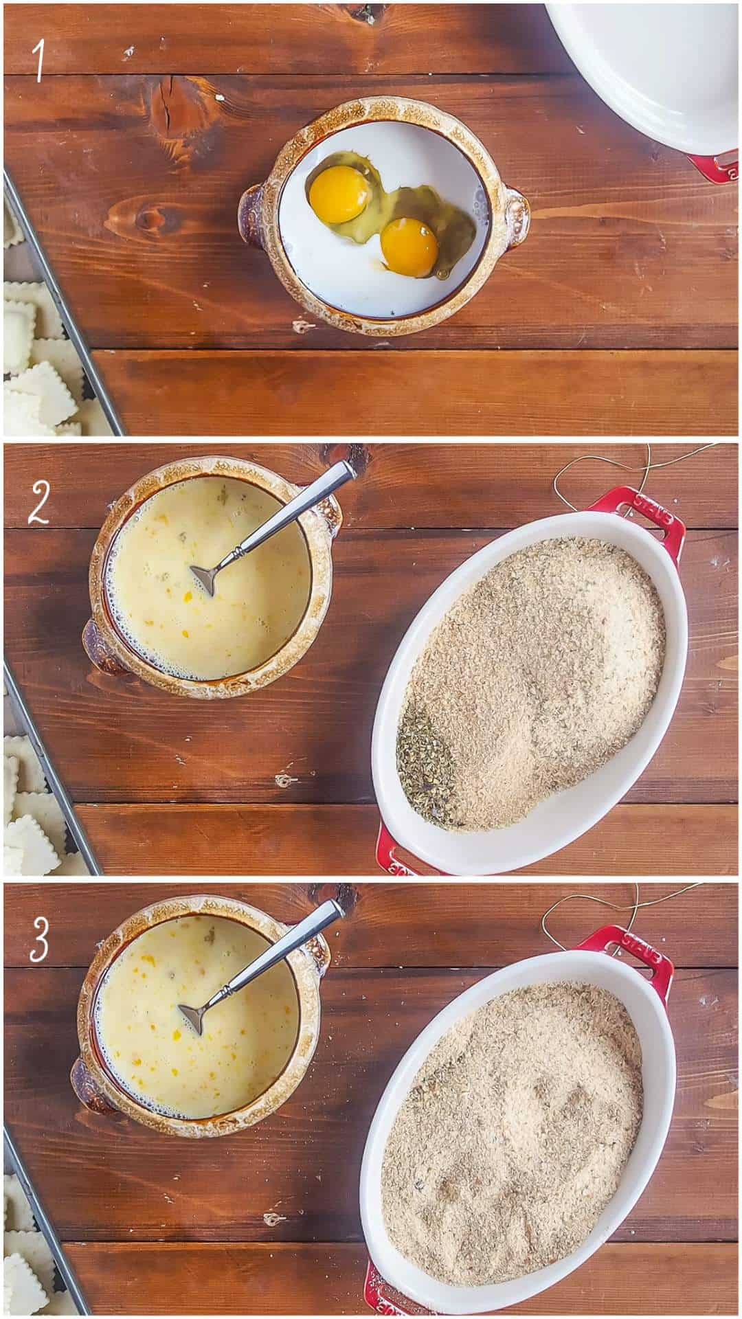 A collage of images showing how to fry ravioli, steps 1 - 3.