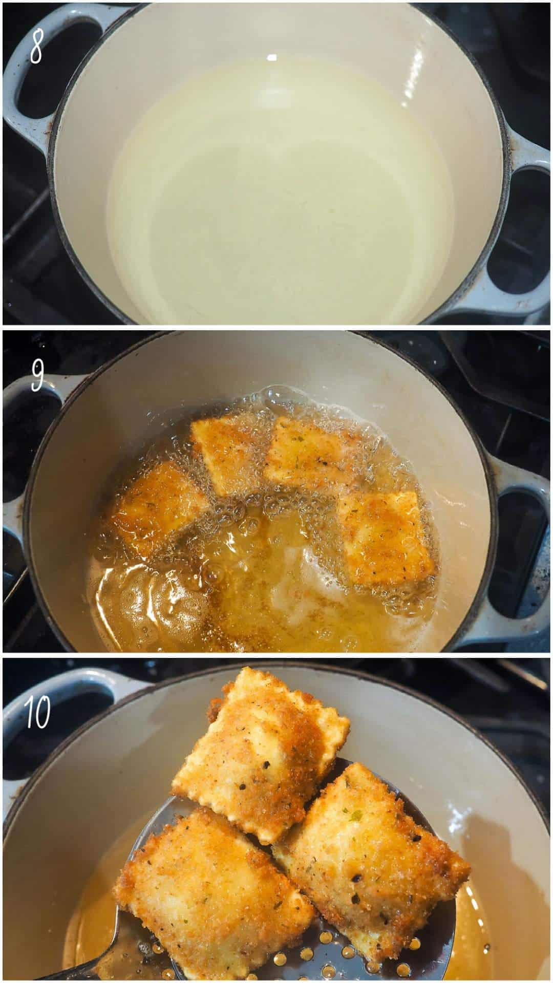 A collage of images showing how to fry ravioli, steps 8 - 10.