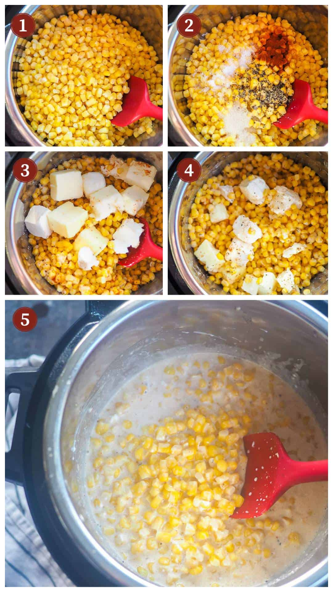 A collage of images showing the process of making creamed corn in an instant pot, steps 1 - 5.