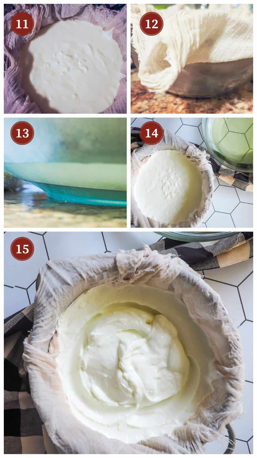 A collage of images showing the process of making yogurt in an Instant Pot, steps 11 - 15.