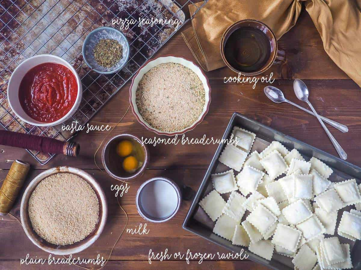 The ingredients in toasted ravioli, laid out and labeled.