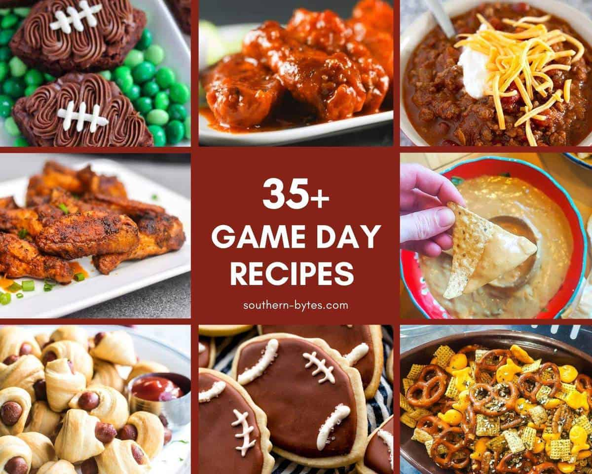 A collage of images of football Sunday recipes.