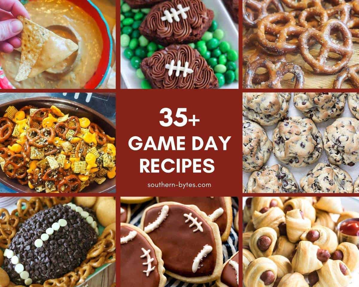 A collage of images of game day recipes.