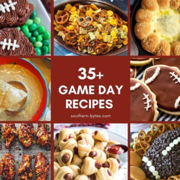 A collage of images of recipes for football sunday.