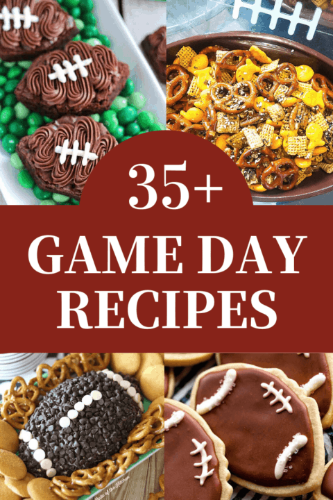 A pin image - a collage of game day recipes.