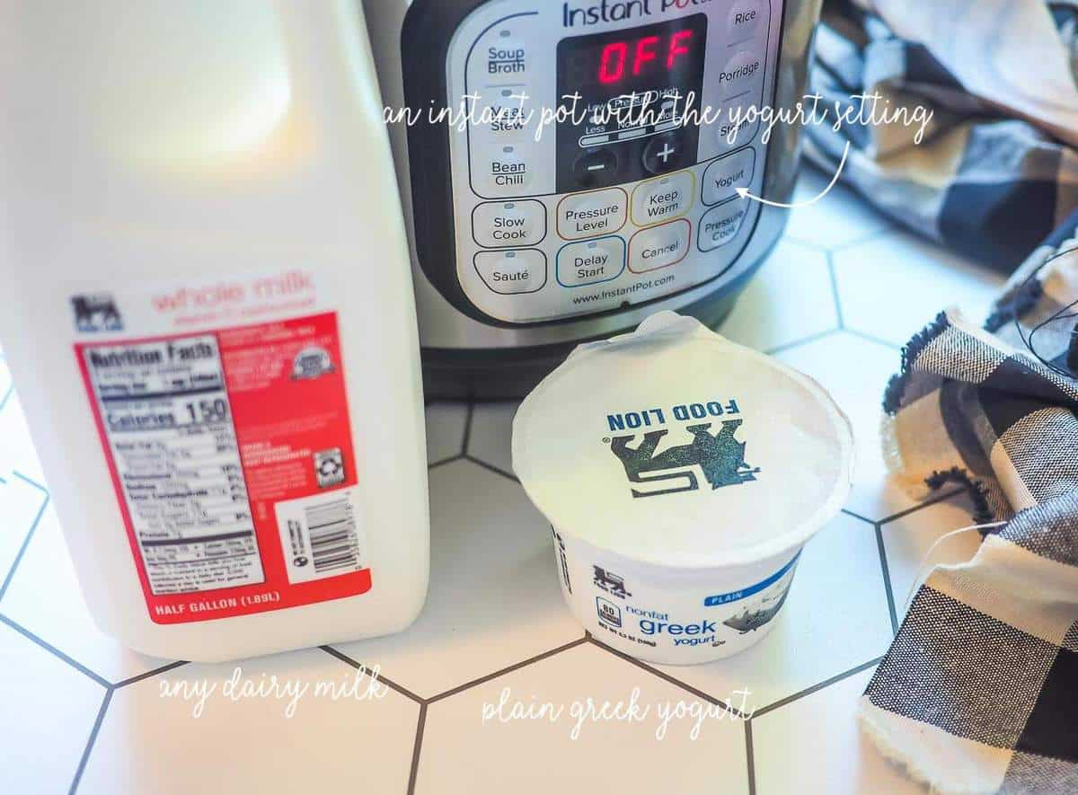 A half-gallon of milk, an instant pot, and a small container of greek yogurt.