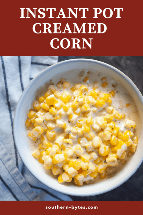 A pin image of a bowl of creamed corn.