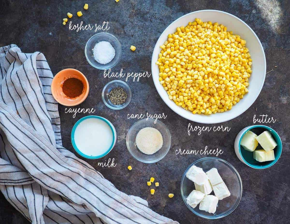 The ingredients in instant pot creamed corn, laid out and labeled.