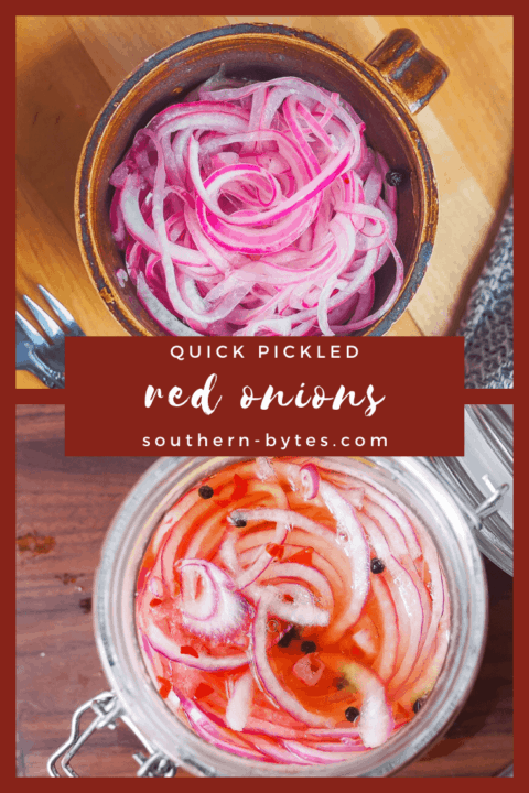 A pin image of a jar of pickled red onions and a bowl of pickled red onions with overlay text.