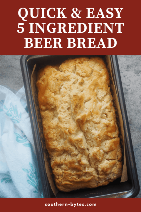 A pin image of a loaf of beer bread in a metal loaf pan.
