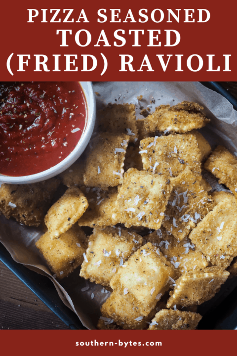 A pin image of fried ravioli in a baking pan with a bowl of sauce.