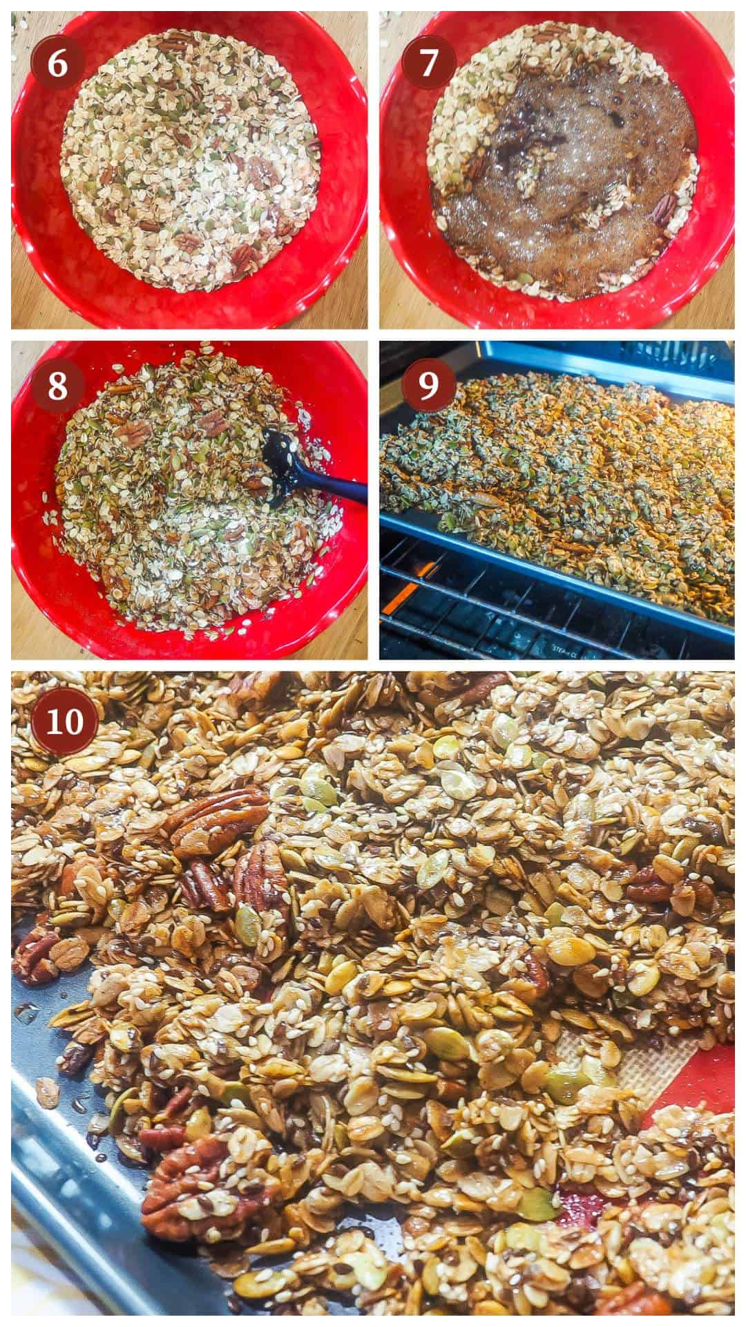 A collage of images showing how to make homemade granola, steps 6 - 10.