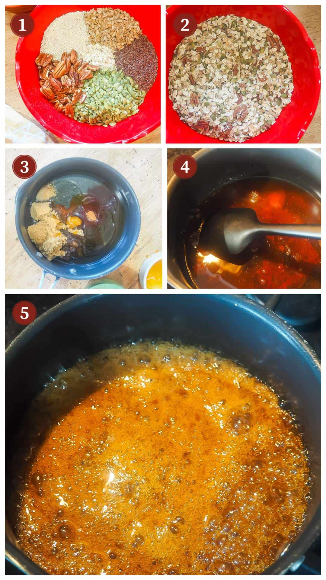 A collage of images showing how to make homemade granola, steps 1 - 5.