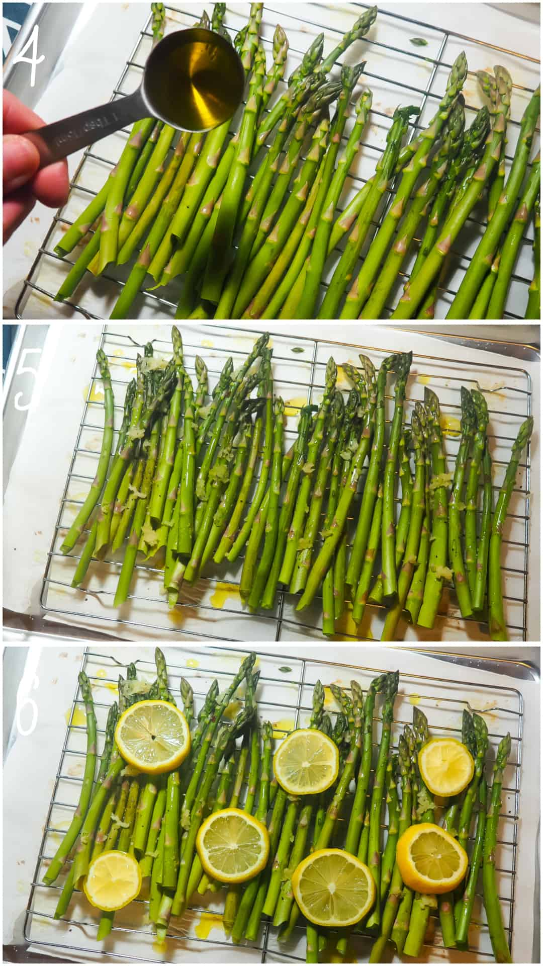 A collage of images showing how to make lemon roasted asparagus in the oven, steps 3 - 6.