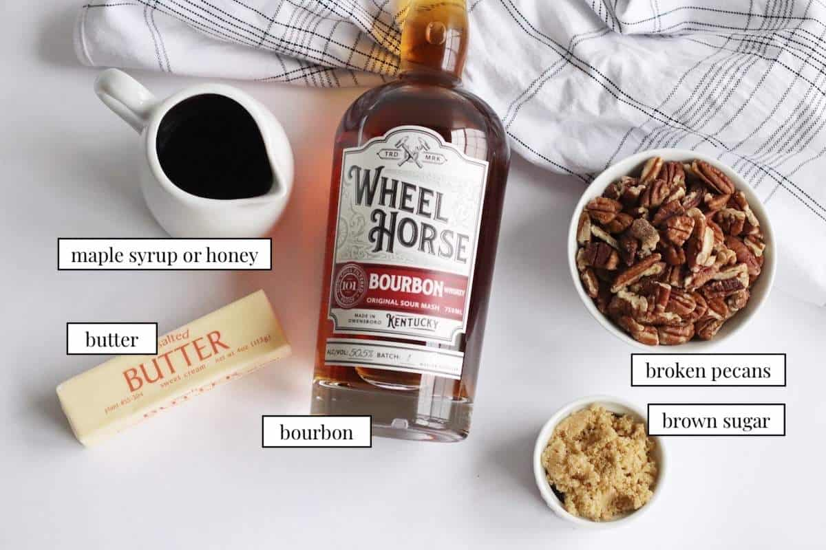 The ingredients in the glaze for maple, bourbon, and pecan ham - labeled.