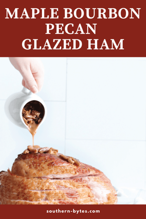 A pin image of a sliced ham with bourbon pecan glaze being poured over it.