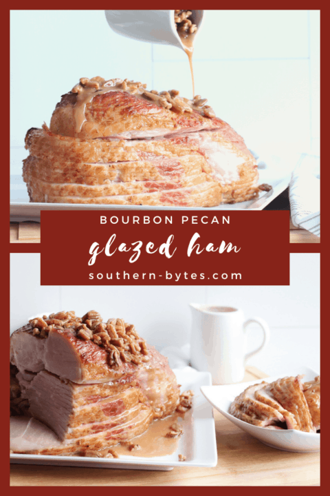 A pin image of a sliced ham on a white plate with maple, bourbon, and pecan glaze drizzled over the top of it with slices off to the side.