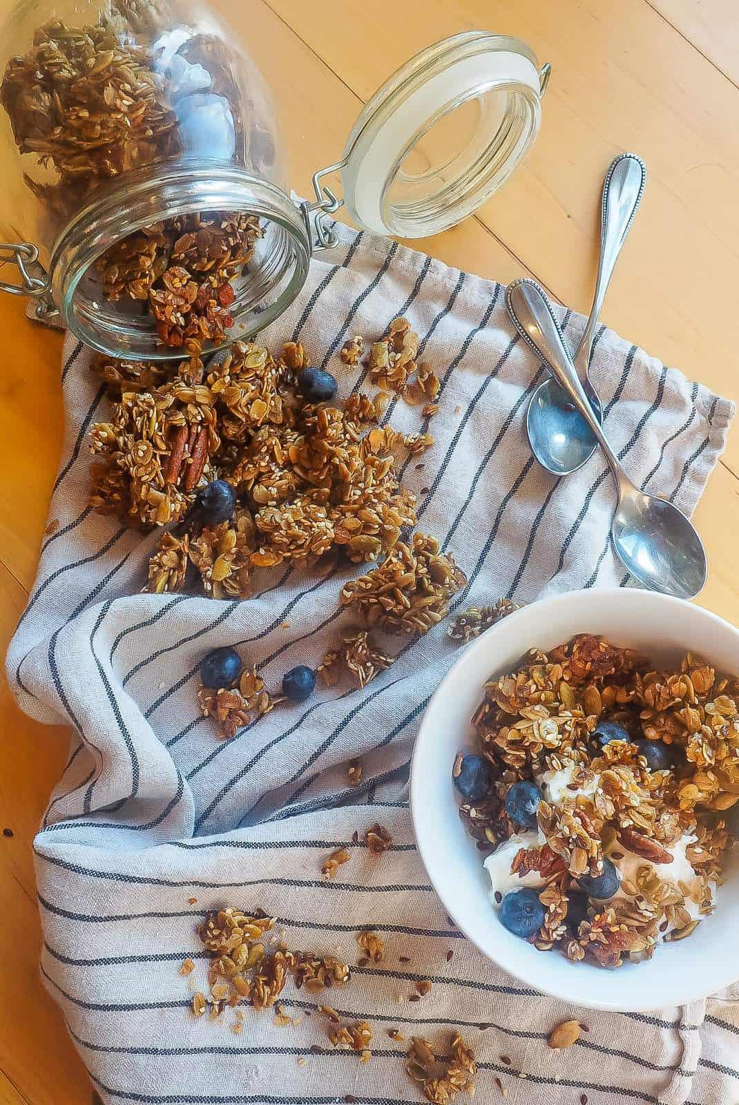 A bowl of granola and yogurt next to spilled granola.
